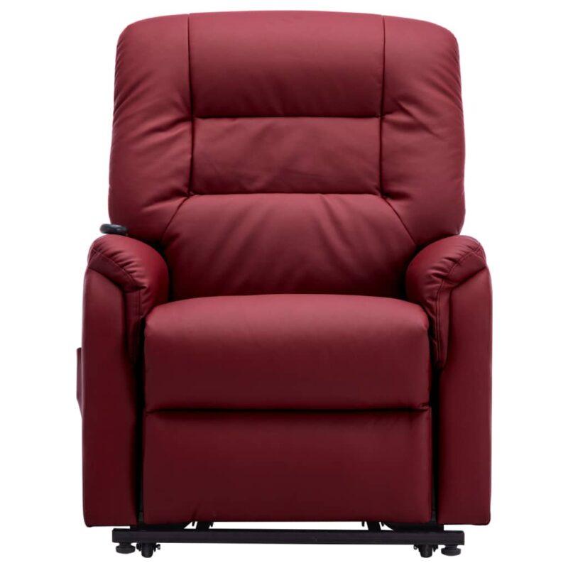 Fauteuil elektrisch sta-op-stoel kunstleer wijnrood