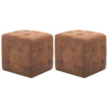 vidaXL Nachtkastjes 2 st 30x30x30 cm kunstsuède bruin