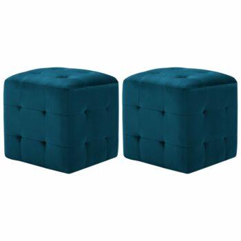 vidaXL Nachtkastjes 2 st 30x30x30 cm fluweel blauw