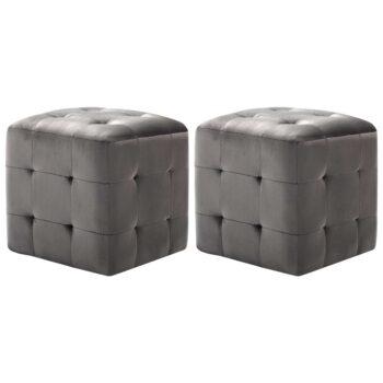 vidaXL Nachtkastjes 2 st 30x30x30 cm fluweel grijs