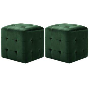 vidaXL Nachtkastjes 2 st 30x30x30 cm fluweel groen