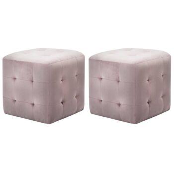 vidaXL Nachtkastjes 2 st 30x30x30 cm fluweel roze