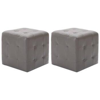 vidaXL Nachtkastjes 2 st 30x30x30 cm kunstleer grijs
