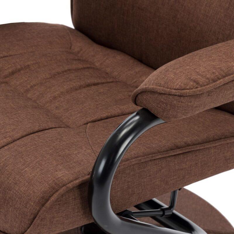 Leunstoel met voetenbankje stof bruin