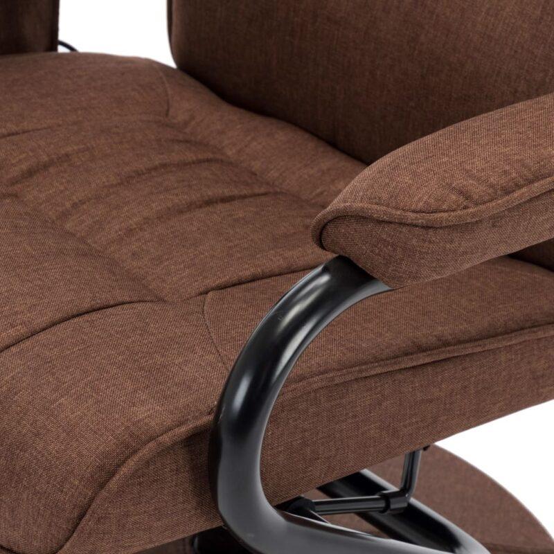 Massagestoel verstelbaar met voetensteun stof bruin