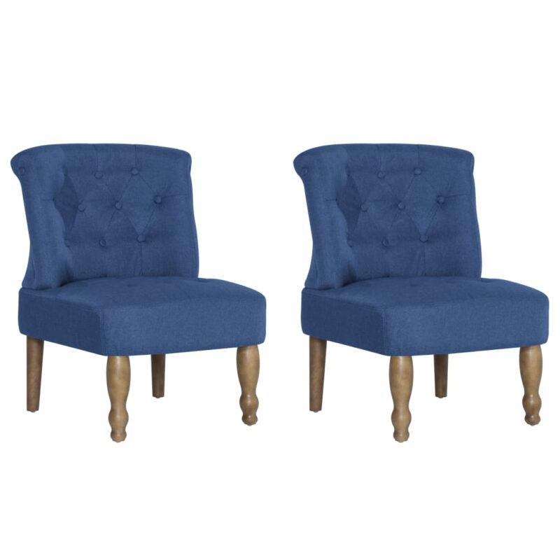Franse stoelen 2 st stof blauw