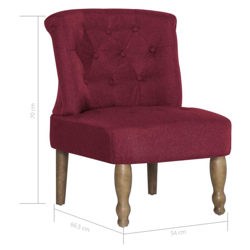 Franse stoelen 2 st stof wijnrood