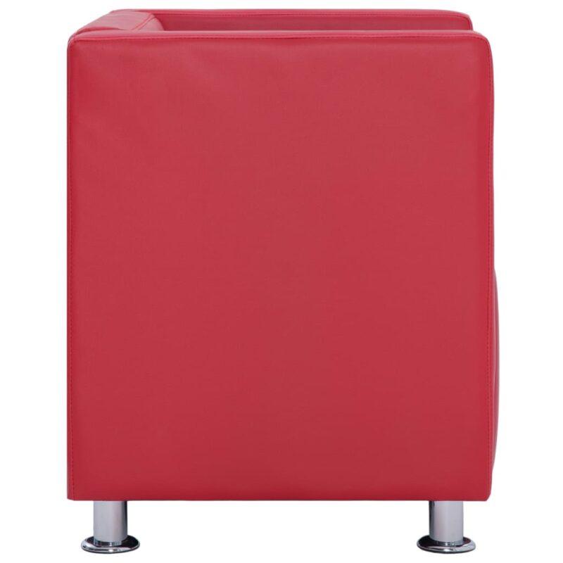 Fauteuil kubus kunstleer rood