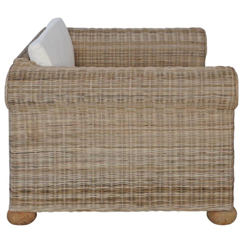 Fauteuil met kussens natuurlijk rattan