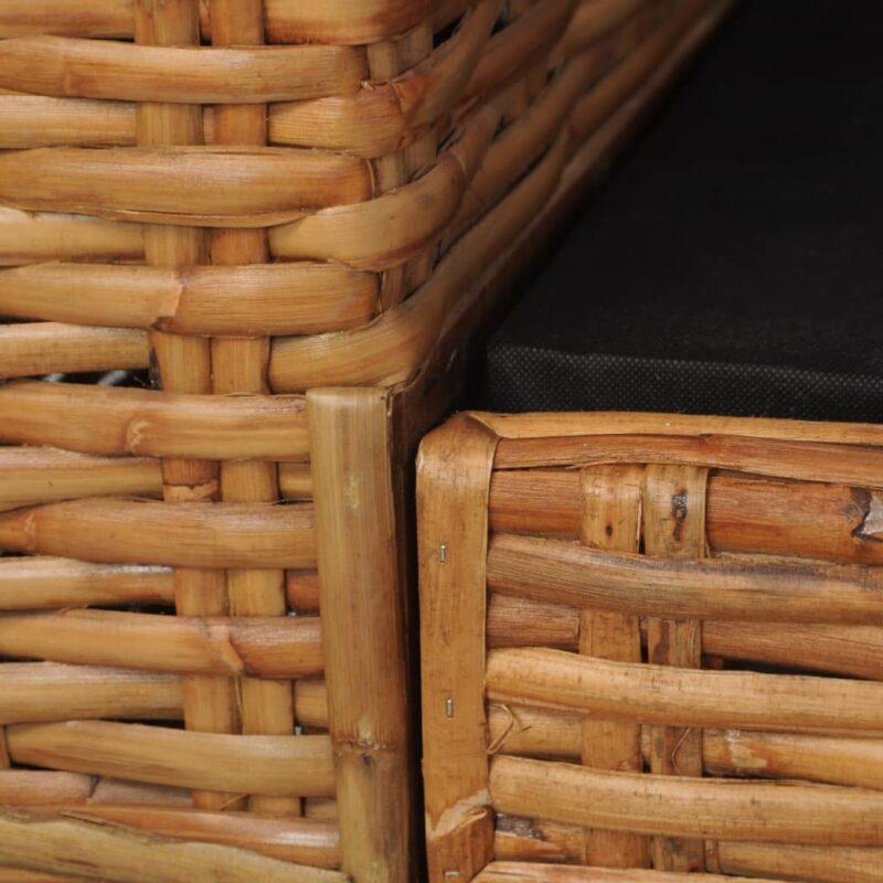 Tweezitsbank met kussens natuurlijk rattan bruin