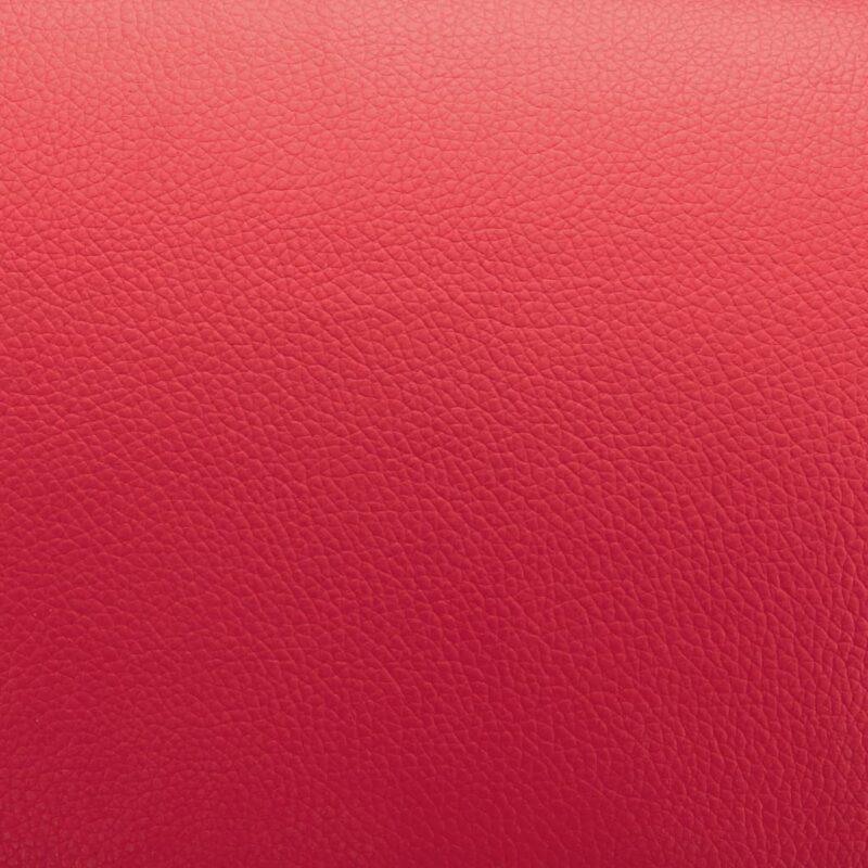 Leunstoel met voetenbankje kunstleer rood