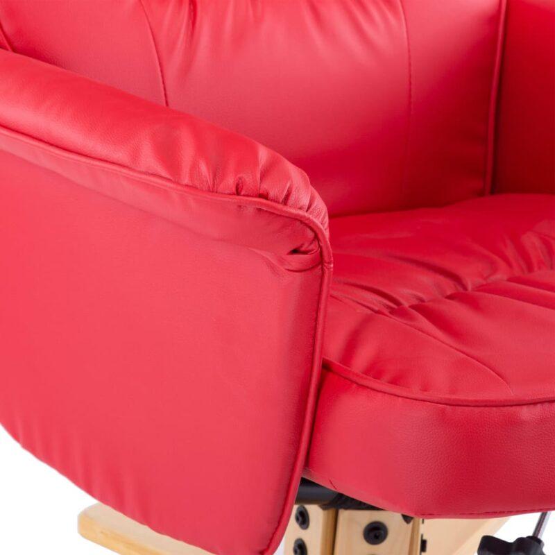 Fauteuil met voetenbankje kunstleer rood
