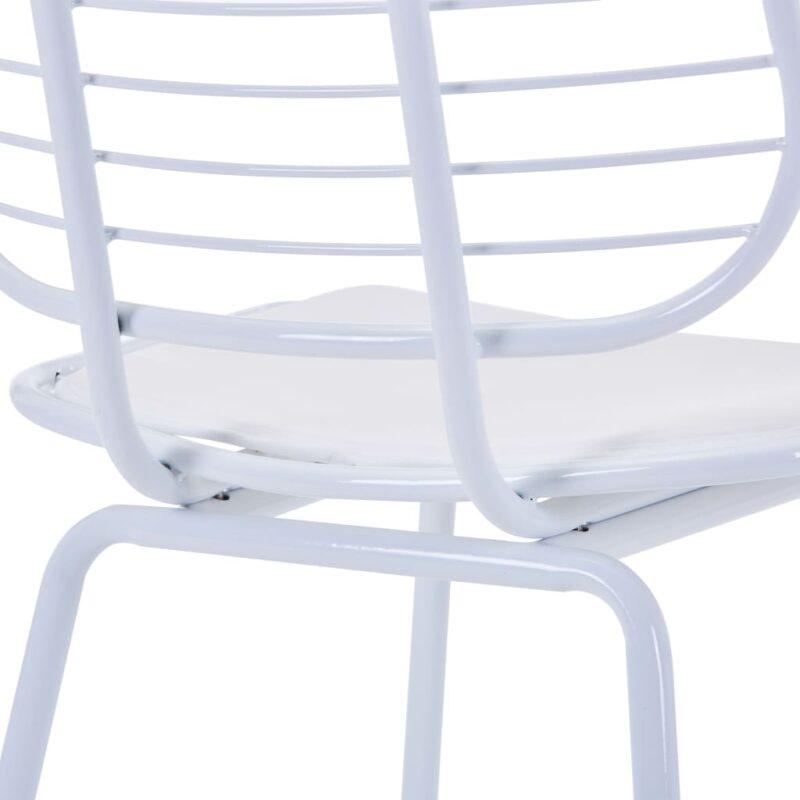 Eetkamerstoelen met kunstleren zittingen 6 st staal wit