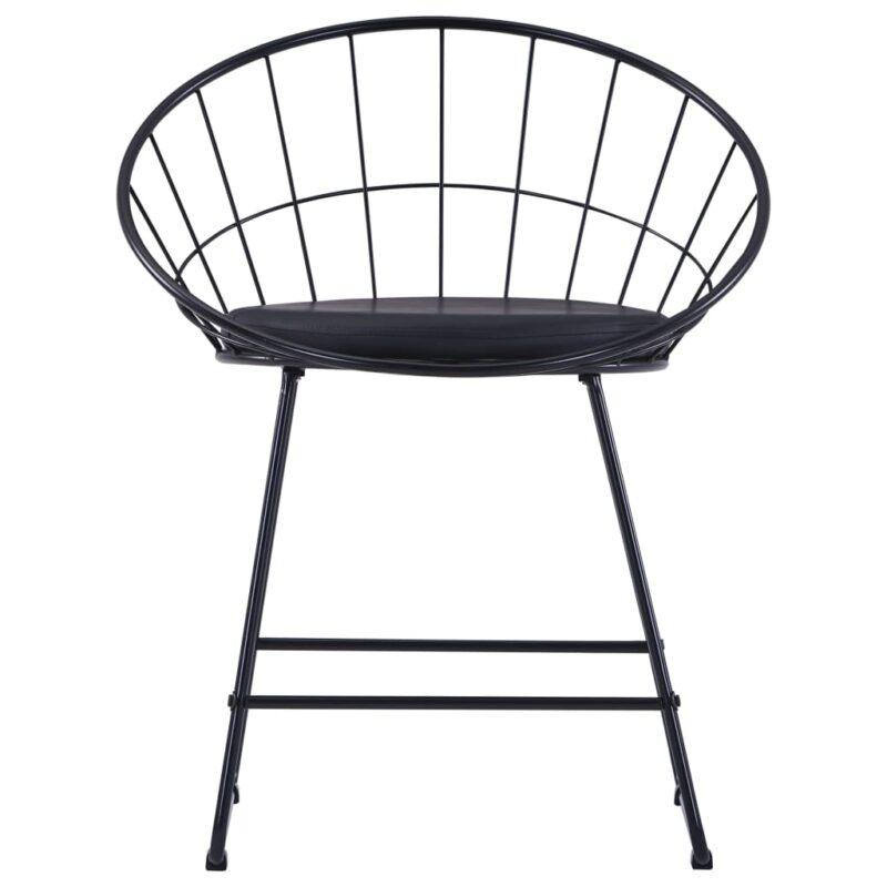 Eetkamerstoelen met kunstleren zittingen 6 st staal zwart
