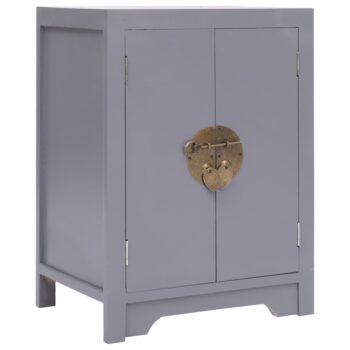 vidaXL Nachtkastje 38x28x52 cm paulowniahout grijs