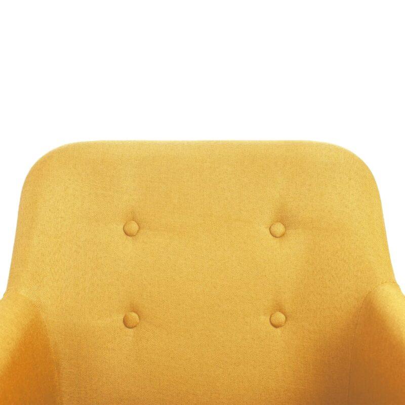 Eetkamerstoelen 4 st stof en massief eikenhout geel