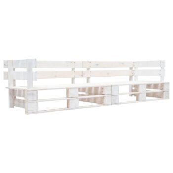 vidaXL Tuinbank 2-zits pallets hout wit