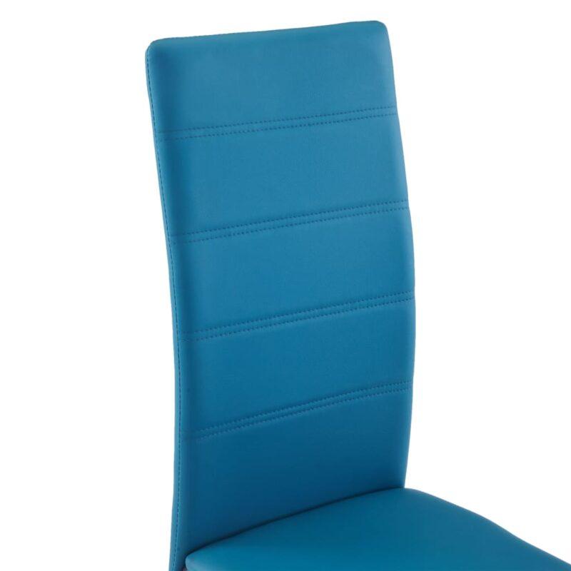 Eetkamerstoelen 6 st kunstleer blauw