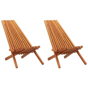 vidaXL Loungestoelen inklapbaar 2 st massief acaciahout