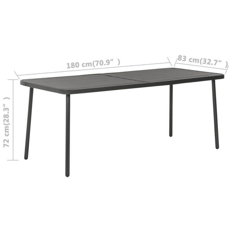 Tuintafel 180x83x72 cm staal donkergrijs