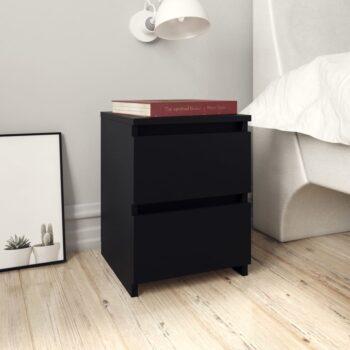 vidaXL Nachtkastje 30x30x40 cm spaanplaat zwart