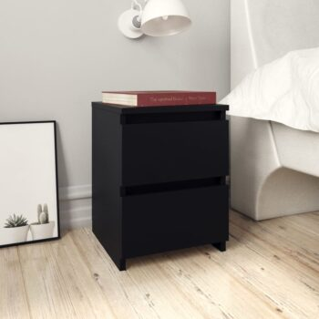 vidaXL Nachtkastjes 2 st 30x30x40 cm spaanplaat zwart