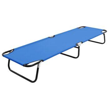 vidaXL Ligbed inklapbaar staal blauw