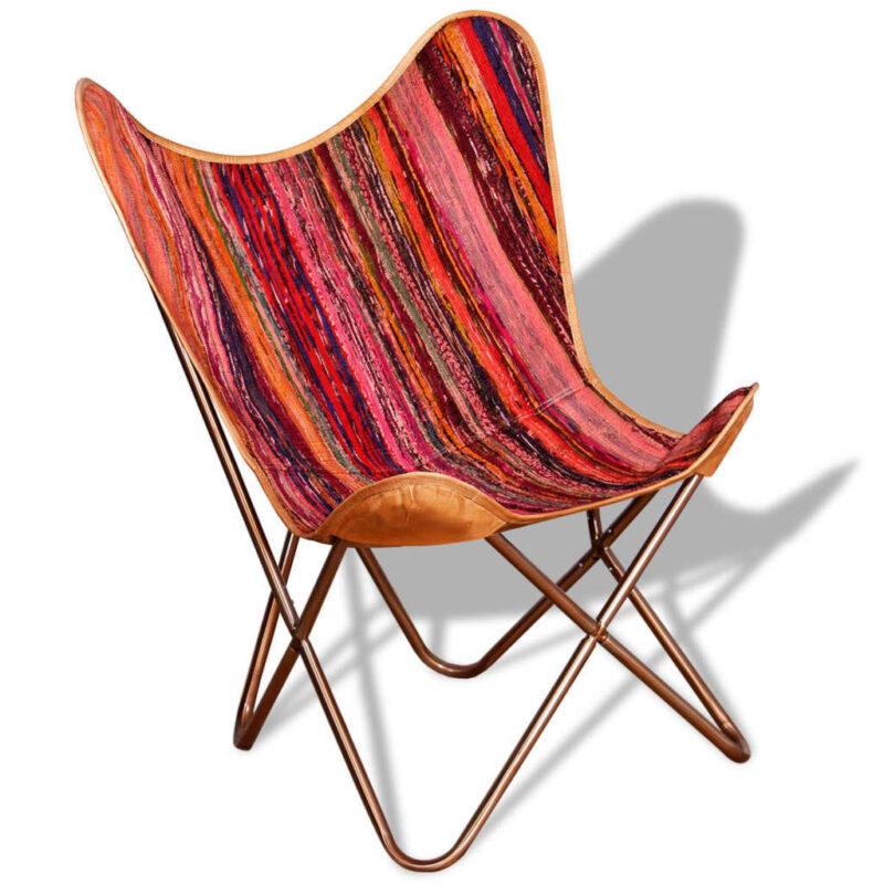 Vlinderstoelen 4 st chindi stof meerkleurig