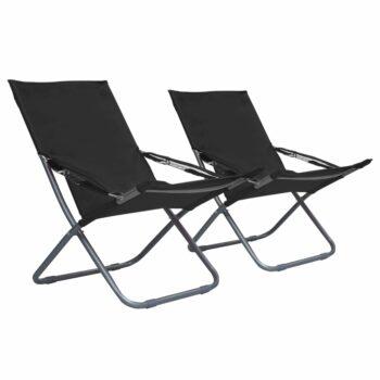 vidaXL Strandstoelen 2 st inklapbaar stof zwart