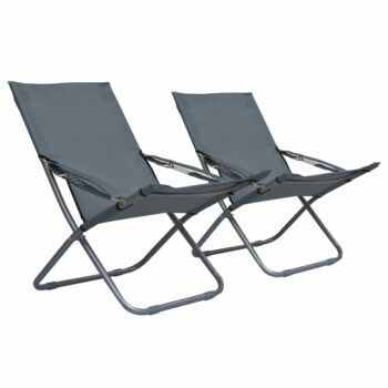 vidaXL Strandstoelen 2 st inklapbaar stof grijs