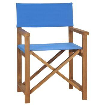 vidaXL Regisseursstoel massief teakhout blauw