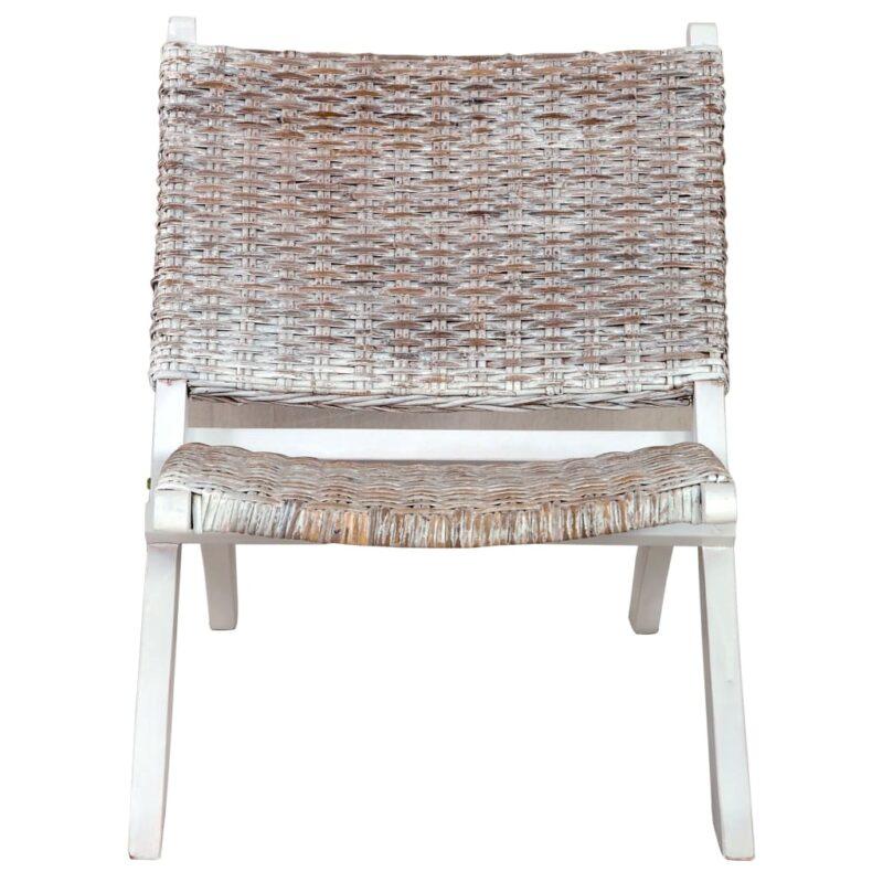 Relaxstoel natuurlijk kubu rattan en massief mahoniehout wit