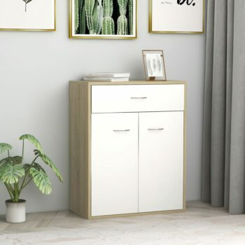 vidaXL Dressoir 60x30x75 cm spaanplaat wit en sonoma eikenkleurig