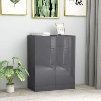 vidaXL Dressoir 60x30x75 cm spaanplaat hoogglans grijs