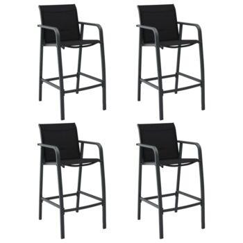 vidaXL Tuinbarstoelen 4 st textileen grijs