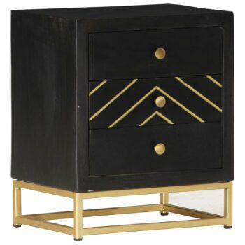 vidaXL Nachtkastje 40x30x50 cm massief mangohout zwart en goudkleurig