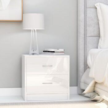 vidaXL Nachtkastjes 2 st 40x30x40 cm spaanplaat hoogglans wit