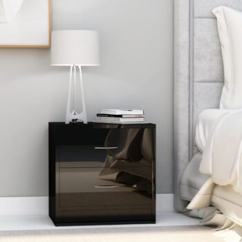 vidaXL Nachtkastje 40x30x40 cm spaanplaat hoogglans zwart