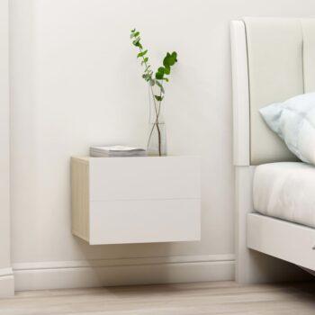 vidaXL Nachtkastjes 2 st 40x30x30 cm spaanplaat wit sonoma eikenkleur