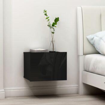 vidaXL Nachtkastjes 2 st 40x30x30 cm spaanplaat hoogglans zwart