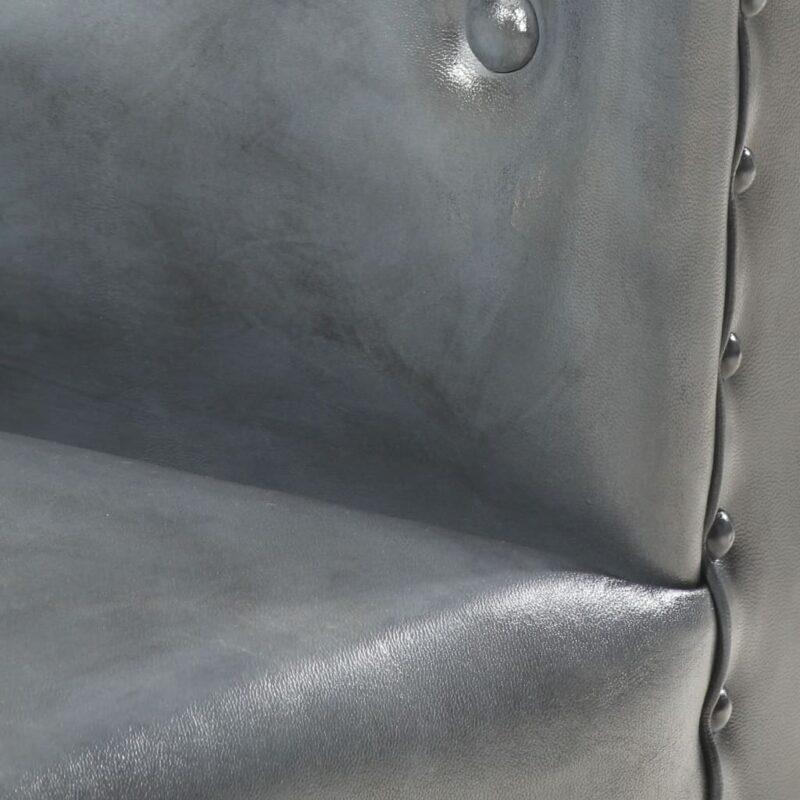 Kuipstoel echt leer grijs