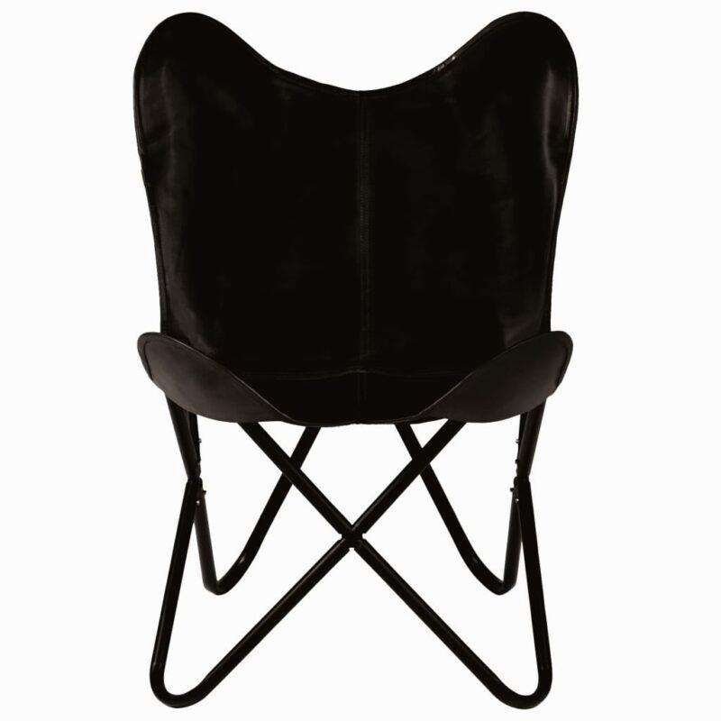 Vlinderstoelen 4 st kindermaat echt leer zwart