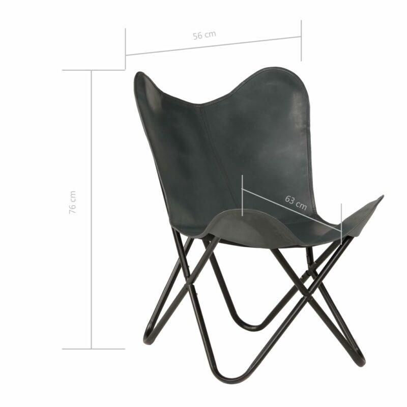 Vlinderstoelen 2 st kindermaat echt leer grijs