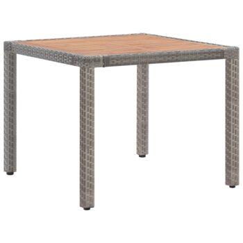 vidaXL Tuintafel 90x90x75 cm poly rattan en massief acaciahout grijs