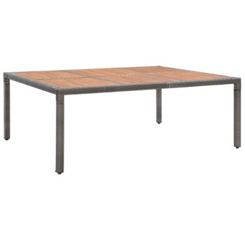vidaXL Tuintafel 200x150x74 cm poly rattan en massief acaciahout grijs