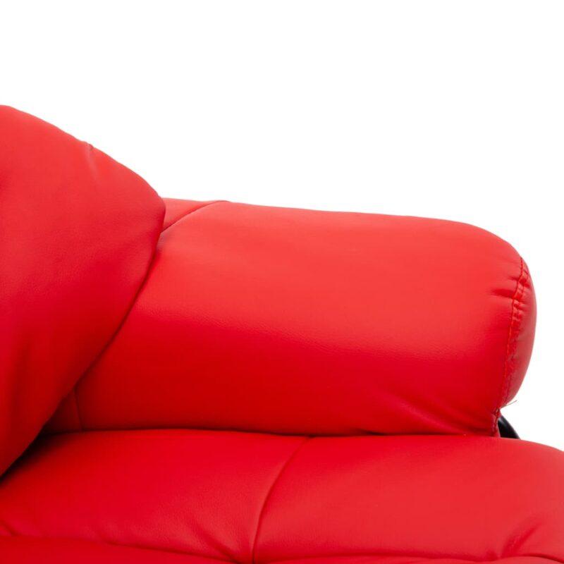 Leunstoel met voetenbankje kunstleer en gebogen hout rood