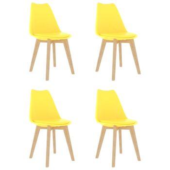 vidaXL Eetkamerstoelen 4 st kunststof geel