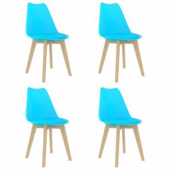 vidaXL Eetkamerstoelen 4 st kunststof blauw