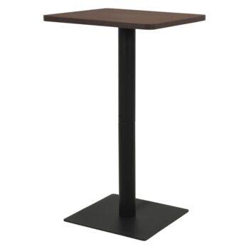 vidaXL Bistrotafel 70x70x107 cm hout en staal donkeressenkleurig
