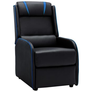 vidaXL Leunstoel kunstleer zwart en blauw